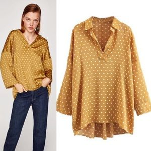 ✨ZARA✨Gold Polka Dot Top